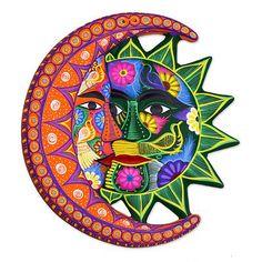 Ceramic wall adornment, 'Eclipse Choir' - Colorful Sun and Moon Ceramic Wall Art Sun Moon Stars, Sun And Stars, Sol Mandala, Sun And Moon Tapestry, Wall Tapestry, Ceramic Wall Art, Sun Art, Humming Bird Feeders, Hippie Art