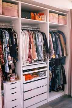 Pax Wardrobe system from IKEA: I combined three units for the perfect wardrobe in my office space. Ikea Pax Closet, Ikea Pax Wardrobe, Wardrobe Design Bedroom, Bedroom Wardrobe, Ikea Wardrobe Storage, Small Wardrobe, Small Closets, Sliding Wardrobe, Ikea Dressing Room