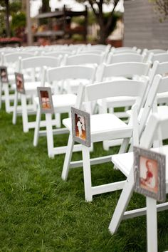 Take your guests on a trip down memory lane by lining your aisle with photos of the bride and groom through the years. Or use photos of the generations