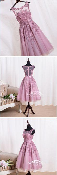 2017 A Line Prom Dress,Short Lavender Prom Dress,Lace Appliques Party Dress,Knee Length Prom Dress,