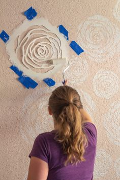 Farmhouse Girl's Room Reveal With DIY Rose Stenciled Wall - A Blossoming Life stencil DIY Stenciled Flowers Wall - Farmhouse Girl's Room Reveal Stencil Rosa, Stencil Diy, Stencil Wall Art, Stencils For Walls, Stenciling Walls, Flower Stencils, Stencil Painting On Walls, Faux Painting, Painting Furniture
