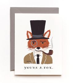 You're a Fox Card - Cards - Love & Friendship - Rifle Paper Co - Telegram Paper Goods Valentine Day Cards, Valentines Diy, Funny Valentine, Zootopia, Rifle Paper Company, Steampunk, Illustrations, Fox Illustration, Valentine's Day Diy