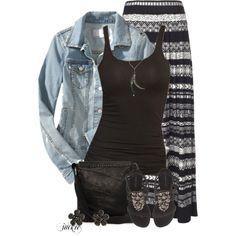 Denim Jacket and Maxi Skirt