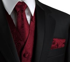 Brand Q Italian Design, Men's Formal Tuxedo Vest, Tie & Hankie Set in Burgundy Paisley - Sears Black Suit Wedding, Wedding Suits, Wedding Attire, Mens Wedding Tux, Wedding Tuxedos, Black And Red Suit, Black Suits, Formal Tuxedo, Men Formal