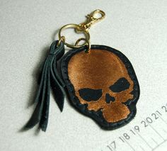 Black leather skull keychain bag charm by delacyaccessories, $7.00