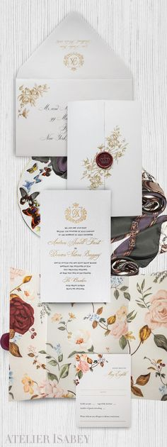 A romantic yet altogether timeless wedding invitation suite featuring a floral illustrated wrap that surrounds a beautiful charcoal and gold invitation card. Luxury Wedding Invitations, Gold Invitations, Floral Invitation, Wedding Invitation Suite, Invitation Cards, Bohemian Chic Weddings, Colorful Weddings, Art N Craft, Timeless Wedding