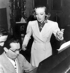 Frederick Hollander working with Marlene Dietrich in Hollywood