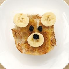 Teddy Bear Toast! by minieco: All you need are bread, banana, raisin, butter, sugar and cinnamon. Yum! Thanks to @jen Murnaghan! #Kids #Teddy_Bear #Toast   Butter  Sugar  Cinnamon