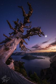 The Night Watch by Alex Noriega., via Flickr; Crater Lake at twilight, Crater Lake National Park, Oregon