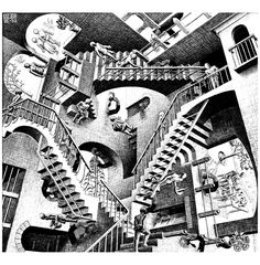 To print this free coloring page «coloring-mc-escher-relativity», click on the printer icon at the right