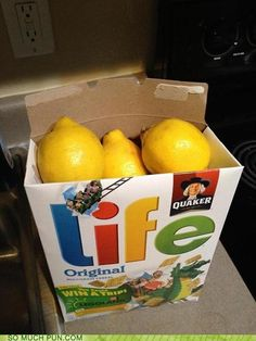 When Life Gives you Lemons - great white elephant gift! Gag Gifts Christmas, Christmas Diy, Snack Recipes, Snacks, Handmade Gifts, Chips, Dairy, Homemade, Gift Ideas