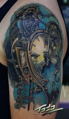 Clocks are extremely useful and sometimes they can be extremely beautiful, too. To commemorate some of the most important dates, times, or just the briefness of life some people opt to get clock tattoos. Here are some of the most timely clock tattoos out there.  Advertisement     This morphing rose-clock was done by Andres Acosta.   Advertisement     Bacanu Bogdan did this cool clock face.   Advertisement     This clock was made with a wicked splatter blackwork effect.  Advertisement…