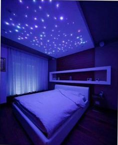 Starlights for room. Teen Bedroom Colors, Neon Bedroom, Cute Bedroom Ideas, Small Room Bedroom, Bedroom Themes, Dream Bedroom, Girls Bedroom, Magical Bedroom, Preteen Girls Rooms