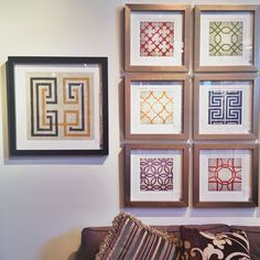 Graphic patterned wall art hung in multiples grid from Surya #hpmkt @Apartment Therapy - Photo by janelpix