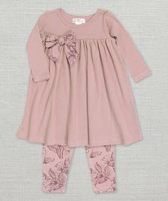 Loving this Misty Rose Bow Dress & Toile Leggings - Infant on #zulily! #zulilyfinds