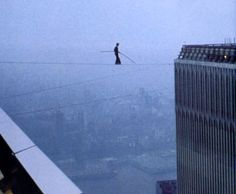 Philippe Petit, 1974 high-wire artistry, crossing The Twin Towers, NYC