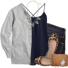 How To Wear J.crew cardigan, navy camisole & leopard flats Outfit Idea 2017 - Fashion Trends Ready To Wear For Plus Size, Curvy Women Over 50 Casual Work Outfits, Mode Outfits, Work Attire, Fashion Outfits, Womens Fashion, Fashion Trends, Moda Casual, Casual Chic, Mode Style