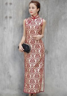 Ankle-length Cheongsam / Qipao / Chinese Dress