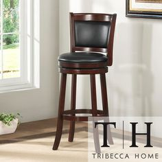 @Overstock.com - TRIBECCA HOME Verona Cherry Swivel 29-inch Barstool - Lend a decidedly modern and elegant feel to your space with this cherry pub chair with ring footrest. This stylish counter-height chair features a black faux leather seat that swivels and sleek tapered legs for a contemporary, up-to-the-minute look.  http://www.overstock.com/Home-Garden/TRIBECCA-HOME-Verona-Cherry-Swivel-29-inch-Barstool/4101671/product.html?CID=214117 $112.49