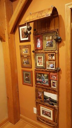 After much cleaning and repair, this old wooden toboggan is used to display photos. Repurposed Furniture, Diy Furniture, Lodge Furniture, Photo Displays, Display Photos, Cafe Restaurant, Rustic Decor, Farmhouse Decor, Sled Decor