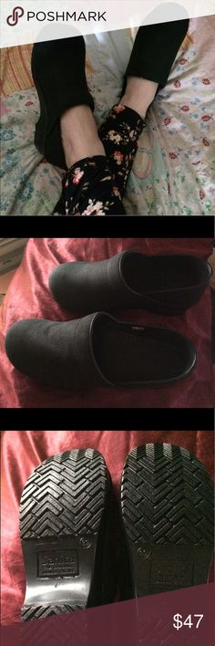 Sanita Danish Clogs Sanita Danish clogs (nursing shoes) in black oiled leather EU 39 wide. I am a 7.5 they are too big for me. I might be able to pull them off with two pair of thick wool socks 😊 Although I like these, I have other pairs though. Never worn except to take the pic. Sanita says they are a EU 39 or US 8 - 8.5 Poshmark sizing says they are a 9. So I would say if you are a 8.5 -9 and/or have a wide width, these will probably will work out nice. Sanita Shoes Mules & Clogs