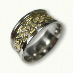 Sterling Silver Celtic Murphy Knot Wedding Band - with Electroplating in recessed areas - Available In All Metals and Sizes Celtic Wedding Bands, Wedding Rings, Two Tones, Metals, Knots, Dream Wedding, Wedding Inspiration, White Gold, Engagement Rings