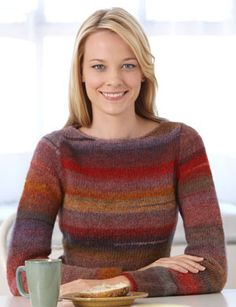 Shapely Stripes Pullover made from Amazing yarn, I like this color.  Free pattern at Lion Brand yarn.