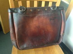 """Leather Postal Service Mail Bag Satchel by Bucheimer, circa 1966. Measures approx. 18"""" X 16"""" X 6""""."""