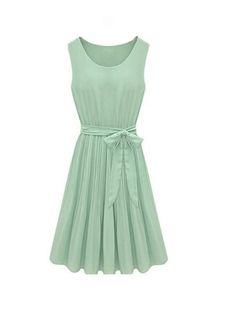 I love this dress! Sleeveless Chiffon Vintage Style Dress Green