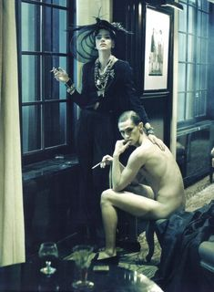 "Freja Beha Erichsen and Mathias Lauridsen in ""In grande stile"" by Steven Meisel for Vogue Italia March 2010."