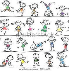 Cute doodle happy cartoon kids seamless pattern
