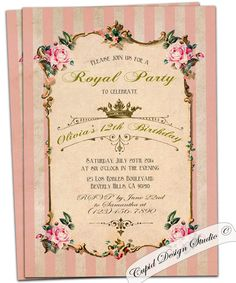 Birthday Party Invitation. Vintage roses tea party invite. Crown. Royal. Baby shower. Shabby Chic. Printable.