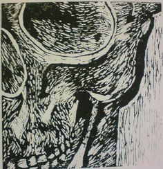 mmmm lino printing yeaaaap this is one of my final peices for art, it's a part of the skull I drew [link] anywayis took me about three lessons to c. Linoprint, A Level Art, Gcse Art, Sketchbook Inspiration, Skull Print, Skull And Bones, Natural Forms, Linocut Prints, Art Inspo