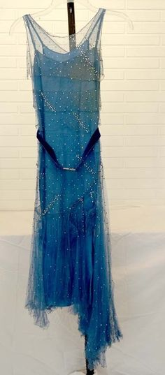 ANTIQUE Vintage 1920's HIGH FASHION Flapper ART DECO Silk Dress w/ RHINESTONES