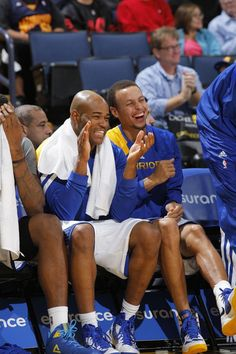 Jarrett Jack and Stephen Curry share some laughs.