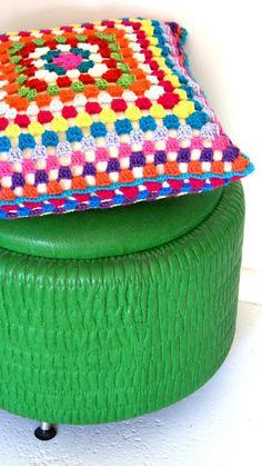 Bright crochet cushion