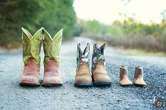 Captured Memories by Esta Eberhardt Photography | MATERNITY baby shoes boots country road