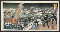 The Japanese warship Saikyōmaru at the Battle of the Yalu River