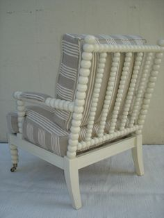 Spool Chair in Weathered Parchment Finish with Beige Stripe Linen Fabric Matching Ottoman Available to order. COM Available- 4.5 Yards- No Repeat.