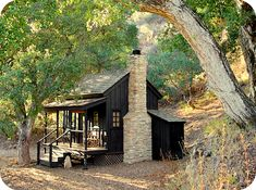 Cabin in the country... love the dark stain!