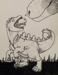 """hungryhyena: """"inktober / dinoween day 5 - t-rex in a gojira/godzilla costume his tiny arms are too small for this @a-dinosaur-a-day """" Stop drawing such cute things Never stop holy shit"""