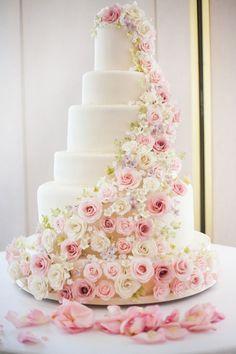 pretty pink rose tiered wedding cake   www.onefabday.com