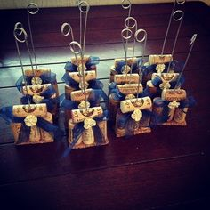 Wine cork table number holders with ribbon & pearl on Etsy, $4.00