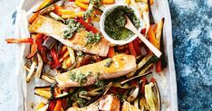 Michelle Bridges' healthy dinner recipe of salmon with carrot, eggplant and zucchini chips is served with a drizzle of basil pesto. This low-carb recipe works out at only 299 calories per serve.