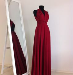 Evening Infinity Convertible Wrap Chameleon Maxi Dress Dark Red. $74.00, via Etsy.