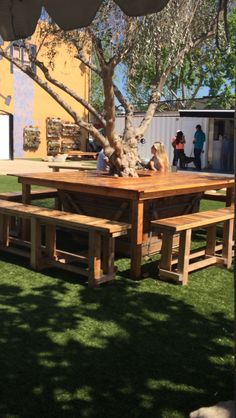 Table built around a tree! How cool...