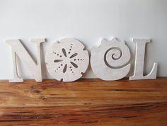 NOEL Christmas decoration beach coastal word sign by seasawsign