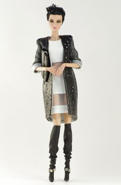 (FR2 body) inc. coat, dress, boots, purse.