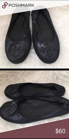 Tory Burch Reva Flats Tory Burch Reva Flats *Used *Navy Blue Shoes Flats & Loafers