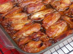 Caramelized Baked Chicken Legs/Wings- used maple syrup instead of honey. baked at 400 x 30 minutes then reduced to 325 for 15 min or so